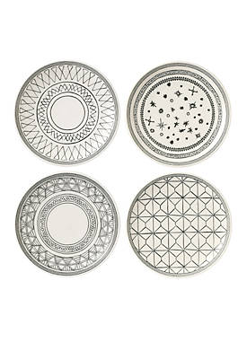 ED ELLEN DEGENERES CRAFTED BY ROYAL DOULTON Charcoal Gray 6-in. Plate Mixed, Set of 4