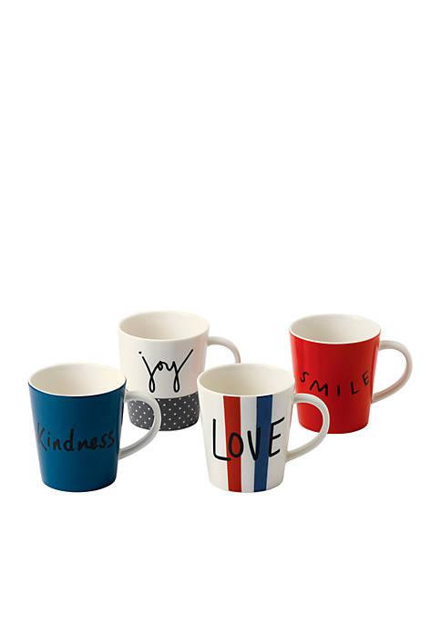 ED ELLEN DEGENERES CRAFTED BY ROYAL DOULTON Joy Mug Mixed, Set of 4