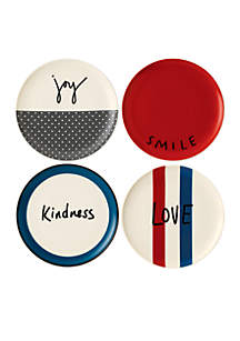 ED ELLEN DEGENERES CRAFTED BY ROYAL DOULTON Joy Plate 8-in. Mixed, Set of 4