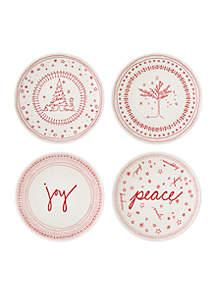 ED Ellen Degeneres Crafted By Royal Doulton Holiday Accent Set of 4 Plates
