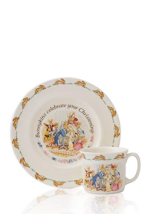 Royal Doulton 2-Piece Bunnykins Christening Plate and Mug