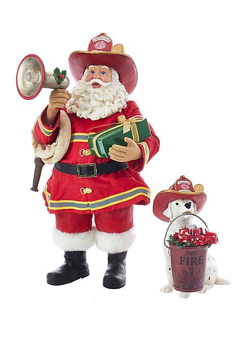Kurt S. Adler Fabriche Fireman Santa With Dalmatian