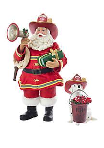Fabriche Fireman Santa With Dalmatian