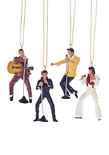 Resin Elvis Presley 4-Piece Ornament Gift Set
