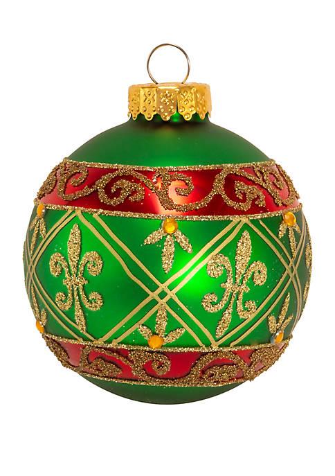 Kurt S. Adler Green Glass Ball Ornament With