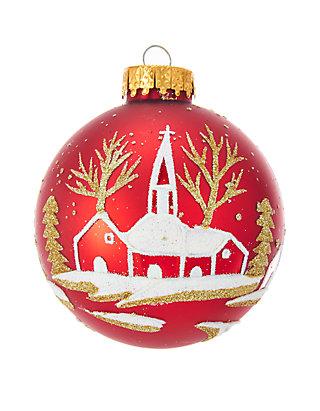Kurt S Adler Red Winter Church Scene Glass Ball Ornaments 6 Piece Box Set Belk