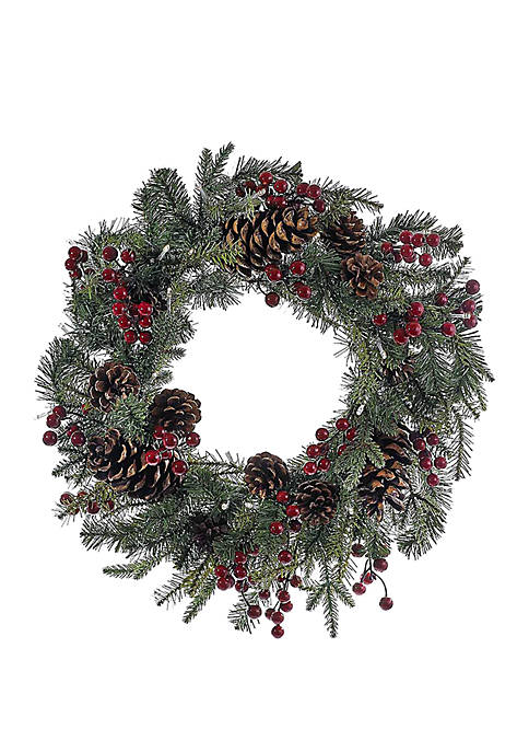 24 in Battery-Operated Red Berry Pine Cone LED Wreath