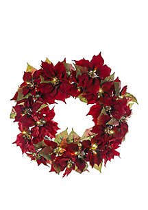 24 in Battery-Operated Poinsettia LED Wreath