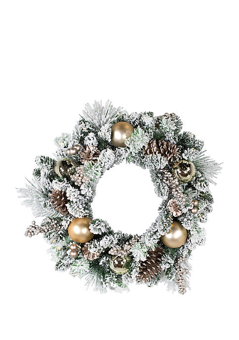 Kurt S. Adler Battery-Operated 30-Light LED Flocked Wreath