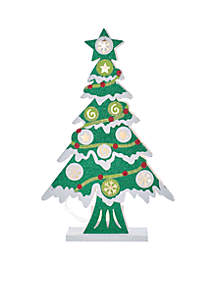 Battery-Operated 10-Light LED Wooden Cutout Christmas Tree