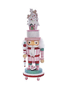 15'' Hollywood Nutcracker with Pink Candy House Hat and LED