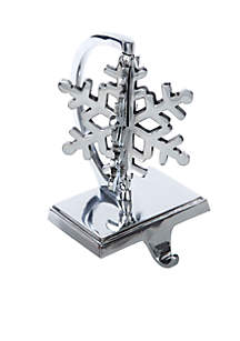 Silver 3-D Snowflake Stocking Holder