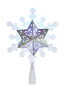 Blue and White LED Rotating Snowflake Treetop