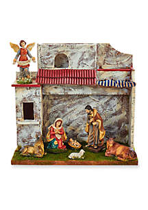 Musical Nativity Set with 7 Figures and Stable