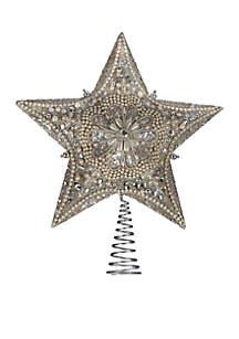 Kurt Adler Platinum Star Treetop with Glitter