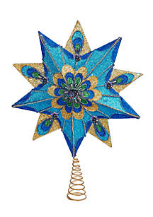 10-Point Peacock Glitter Treetop