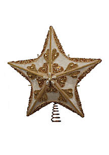 Fabric Ivory and Gold Glitter Star Treetop