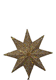 16-in. Gold Glitter with Gold Trim and Beads Star Treetop