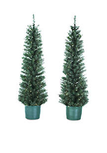 Pre-Lit Potted Tree Set of 2