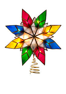 10-Light Capiz Star Multicolored Treetop