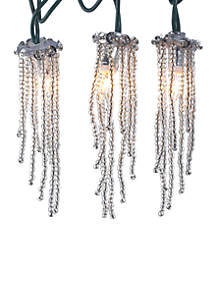 Indoor 10-Light Clear Beaded Icicle Light Set