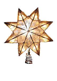 Indoor 10-Light 8-Point Capiz Star Treetop with Arabesque Decoration