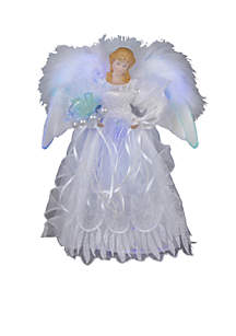 White and Silver Fiber Optic LED Angel Treetop