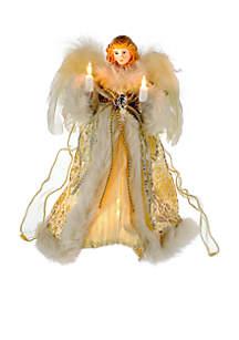 UL 10-Light Ivory/Gold Angel Treetop