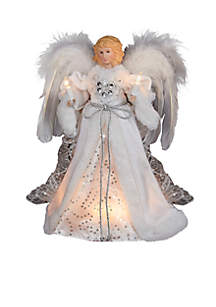 12-in. 10-Light White and Silver Angel Treetop
