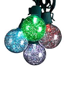 UL 10-Light G40 Silver Tinsel Balls LED Light Set