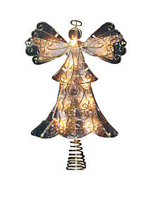 UL 10-Light 10-in. Metal Reflector Angel Treetop
