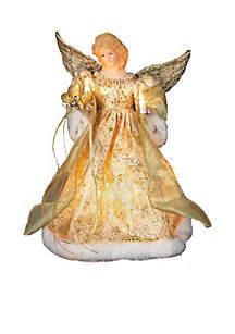 UL 10-Light Gold Dress Angel Treetop