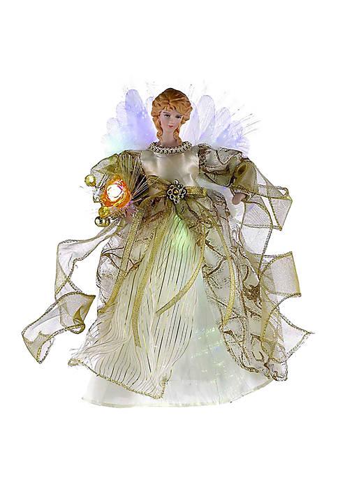 Kurt S. Adler Ivory/Gold Fiber Optic LED Angel