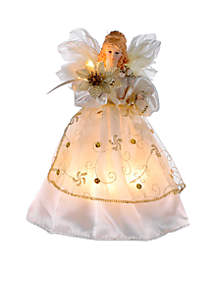 10-Light Ivory and Gold Angel Treetop