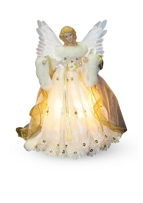 Ivory and Gold Fiber Optic Animated Angel Treetop