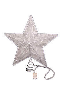 10-Light Snowfall 5-Point Silver Wire Star Treetop