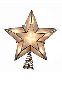 Light 5-Point Ivory and Gold Capiz Star Treetop
