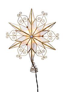 10-Light 6-Point Capiz Star Treetop with Scroll Design