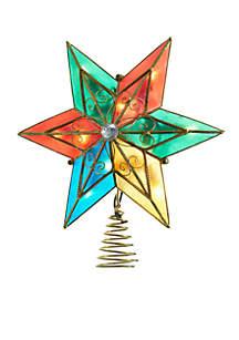 10-Light Multi Capiz Star Treetop