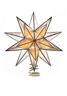 10-Light 15-Point Gold Sputnik Capiz Treetop