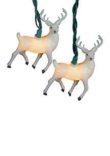 UL 10-Light White Glitter Reindeer Light Set