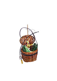 Green Fish In Basket Ornament