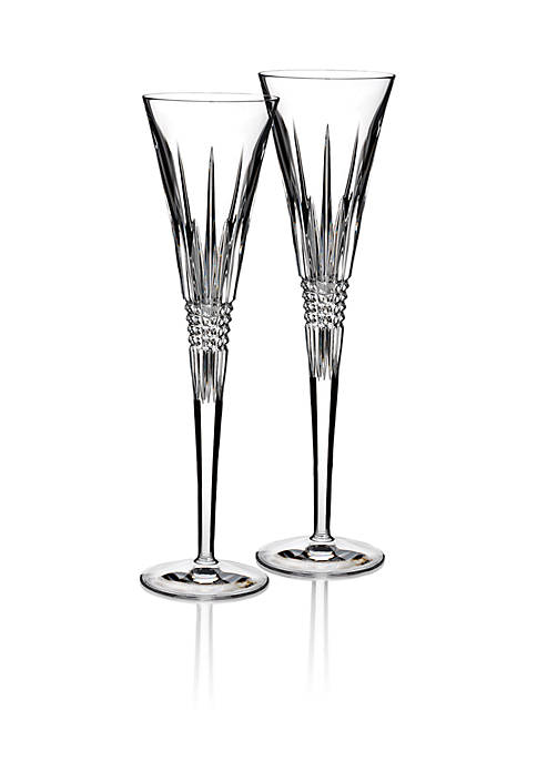 Waterford Lismore Diamond Toasting Flutes Pair 5-oz.