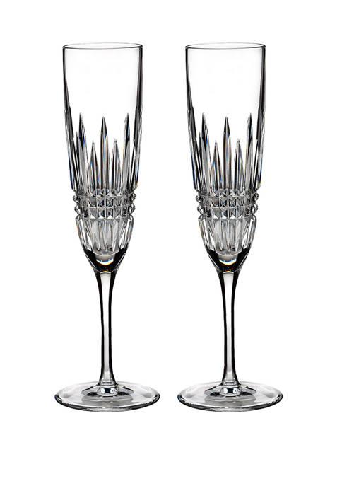 Waterford Set of 2 Lismore Diamond Flutes