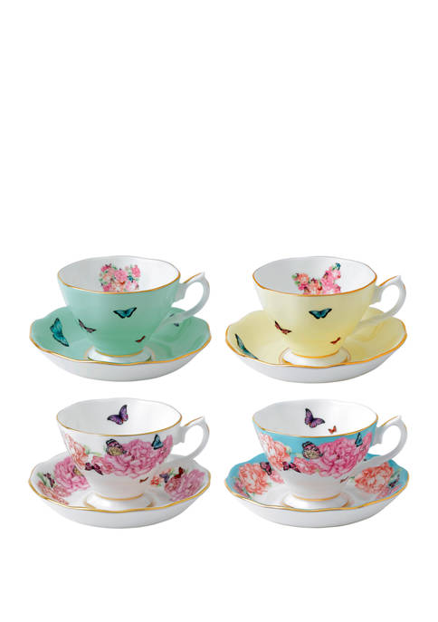 Set of 4 Mixed Pattern Teacup and Saucers (Blessings, Devotion, Gratitude, Joy)