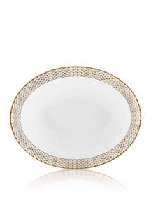 Waterford Lismore Diamond Gold Oval Vegetable Bowl