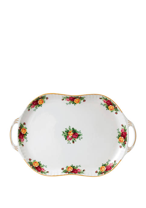 19 Inch Old Country Roses Handled Serving Platter