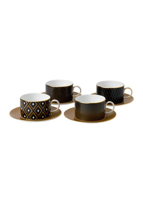 Wedgwood Arris Accent Teacup & Saucer Set of