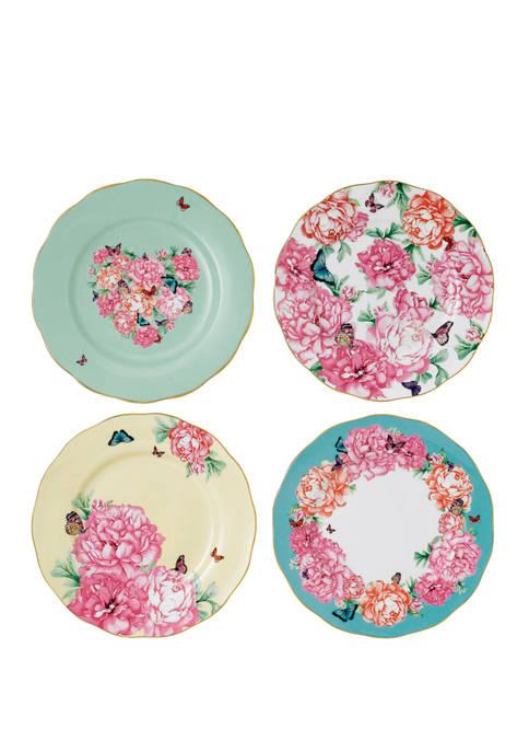 Set of 4 Mixed Patterns Accents Plates (Blessings, Devotion, Gratitude, Joy)