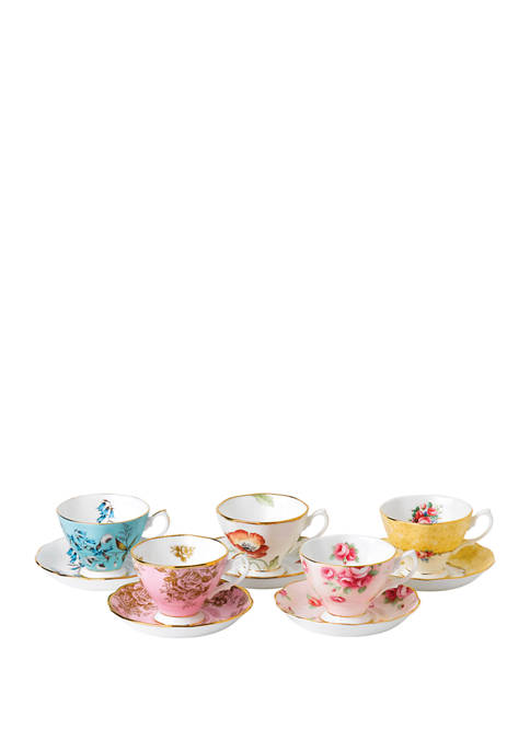 100 Years 1950-1990 Set of 5 Teacups and Saucers